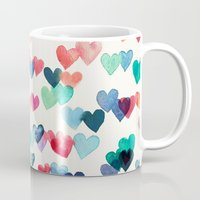 aqua Mugs featuring Heart Connections - watercolor painting by micklyn