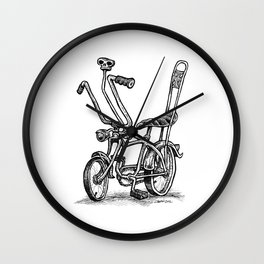 Skull Shifter Muscle Bike - Cartoon Retro Mod Stingray Bicycle Rat Rod Wall Clock
