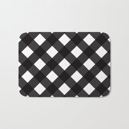 Contemporary Black & White Tilt Gingham Pattern - Bath Mat