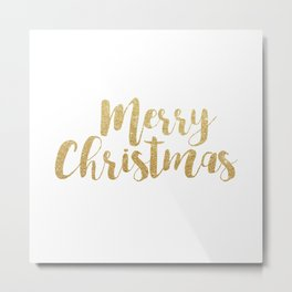 Merry Christmas | Gold Glitter Script Metal Print