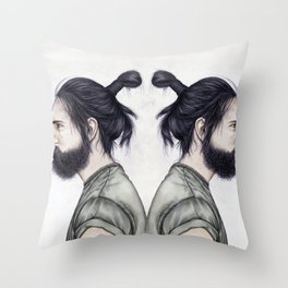 Beard & Top Knot Throw Pillow