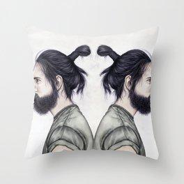 Beard & Top Knot Throw Pillow