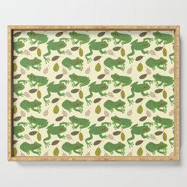 Fun Frogs with Leaves from Trees Serving Tray