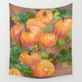 pumpkin field Wall Tapestry
