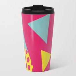 Pink Turquoise Geometric Pattern in Pop Art, Retro, 80s Style Travel Mug