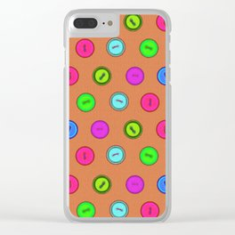 Stylish hand drawn colorful vintage buttons pattern on terracotta color Clear iPhone Case