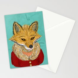 Sophisticated Fox Art Print Stationery Cards
