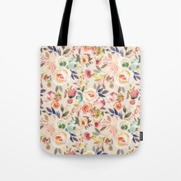 Hand painted ivory pink brown watercolor country floral Tote Bag