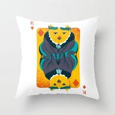 Cat the King of Diamonds Throw Pillow