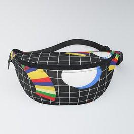 Memphis Grid & Rainbows Fanny Pack