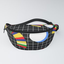 Memphis Grid & Rainbows Fanny Pack