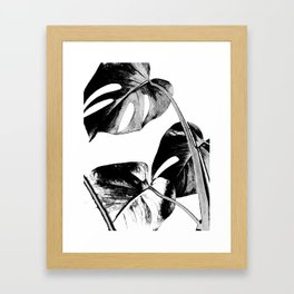Black monstera leaves watercolor Framed Art Print