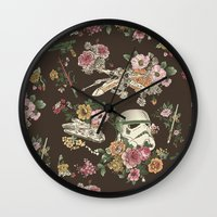 family Wall Clocks featuring Botanic Wars by Josh Ln
