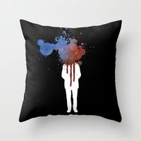 grafitti Throw Pillows featuring Space Galaxy Head – Abstract Grafitti by pennyprintables