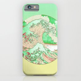 Great Wave Off Kanagawa Mount Fuji Eruption-Green and Yellow Gradient  iPhone Case