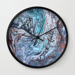 Corrosion, Abstract Fluid Acrylic Pour  Wall Clock