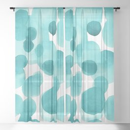 Aqua Bubbles: Abstract turquoise watercolor painting Sheer Curtain