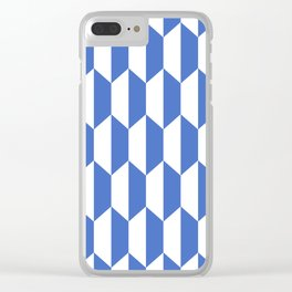 Classic Trapezoid Pattern 228 Blue Clear iPhone Case