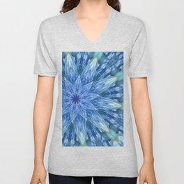Sweetly Romantic Blue Kaleidoscope Unisex V-Neck