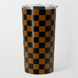 Black and Chocolate Brown Checkerboard Travel Mug