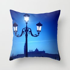 Venice in blue Throw Pillow