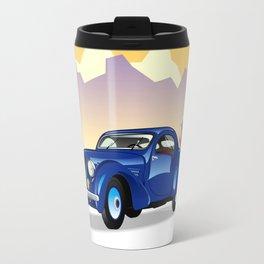 Blue retro car on a mountain landscape Travel Mug