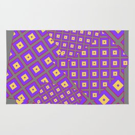 GREY PURPLE CREAM MODERN SQUARES ART Rug
