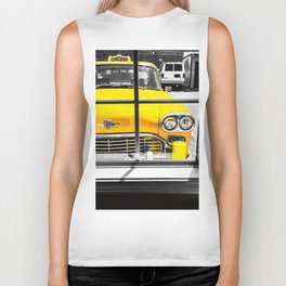 vintage yellow taxi car with black and white background Biker Tank