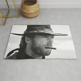 Clint Eastwood Smoking a Cigar Retro Vintage Art Rug