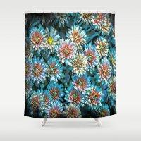 van gogh Shower Curtains featuring Van Gogh Blue Chrysanthemum by naturessol