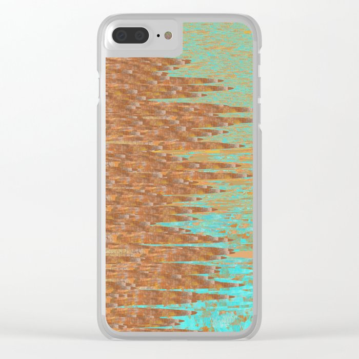 Jagged Turquoise and Copper Design Clear iPhone Case