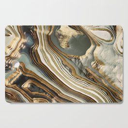 White Gold Agate Abstract Cutting Board