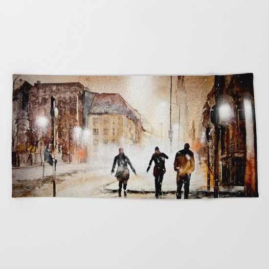 Britain's cold night in warm colors. Beach Towel