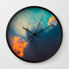 Beautiful Colorful Cotton Candy Clouds Blue Orange hues Ombre Gradient Fluffy Cotton Candy Texture Wall Clock