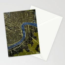 New Orleans Louisiana 1932 GREEN AND BLUE VINTAGE OLD MAP Stationery Cards