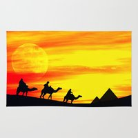 egyptian Area & Throw Rugs featuring Egyptian supermoon by Pirmin Nohr