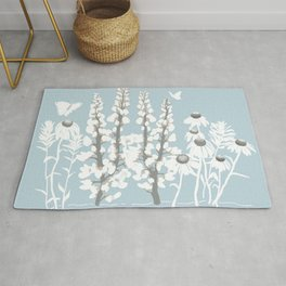 Wildflowers In White on Blue/Grey Background Rug