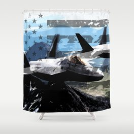 US Flag: F-22 Shower Curtain
