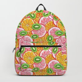 Summer pattern Orange grapefruit and kiwi fruit Backpack