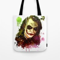 the joker Tote Bags featuring Joker by Sirenphotos