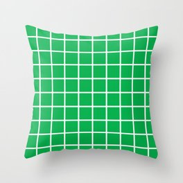 Green Grid Pattern 2 Throw Pillow