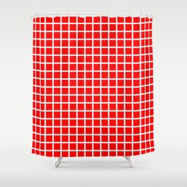 Grid (White & Classic Red Pattern) Shower Curtain