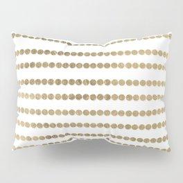 Elegant faux gold white modern minimal polka dots stripes Pillow Sham
