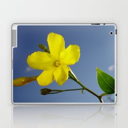 Yellow Jasmine Flower and Bud Against Blue Sky Laptop & iPad Skin