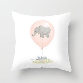 Elephant in a balloon Throw Pillow