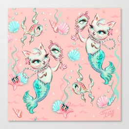 Merkittens with Pearls on blush Canvas Print