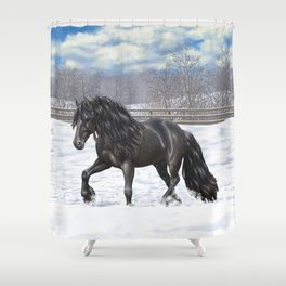 Friesian Horse Trotting In Snow Shower Curtain