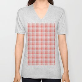 Farmhouse Simple Plaid Pattern 2 With Pantone Living Coral Color of the Year 2019 Unisex V-Neck