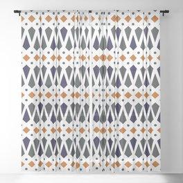 Abstract Geo Print in Burnt Orange, Charcoal and Navy Sheer Curtain