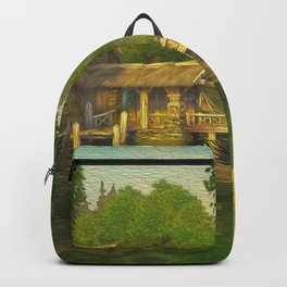 Little Fisher Shack At River Ultra HD Backpack
